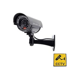 YobangSecurity Outdoor Indoor Fake Dummy Imitation CCTV Security Camera with Blinking Flashing Light Bullet Shape black