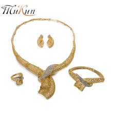 MUKUN African beads jewelry set Gold Color Women Crystal Nigerian Wedding Bridal Accessories dubai jewelry sets Costume Design(China)