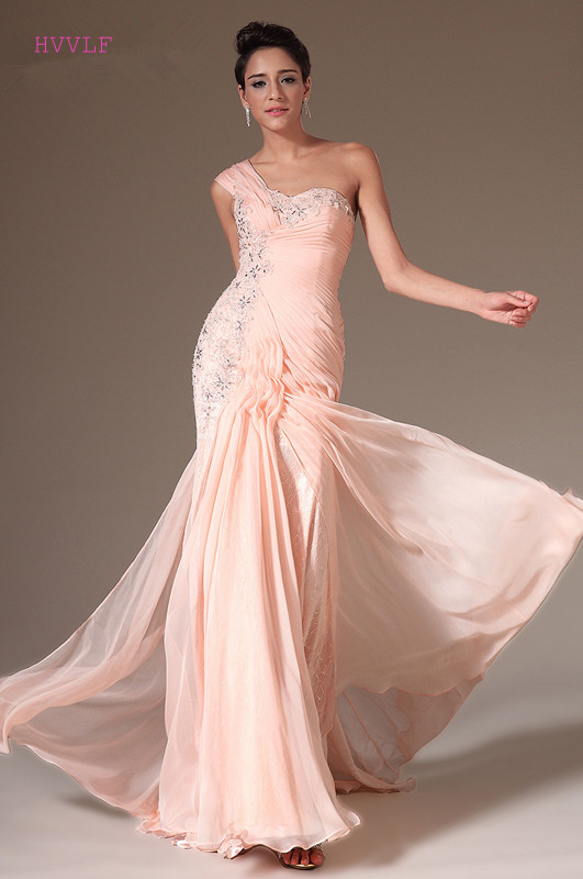 US $70.98 9% OFF|Peach Evening Dresses 2019 Mermaid One shoulder Chiffon  Beaded Lace Plus Size Long Evening Gown Prom Dresses Robe De Soiree-in ...