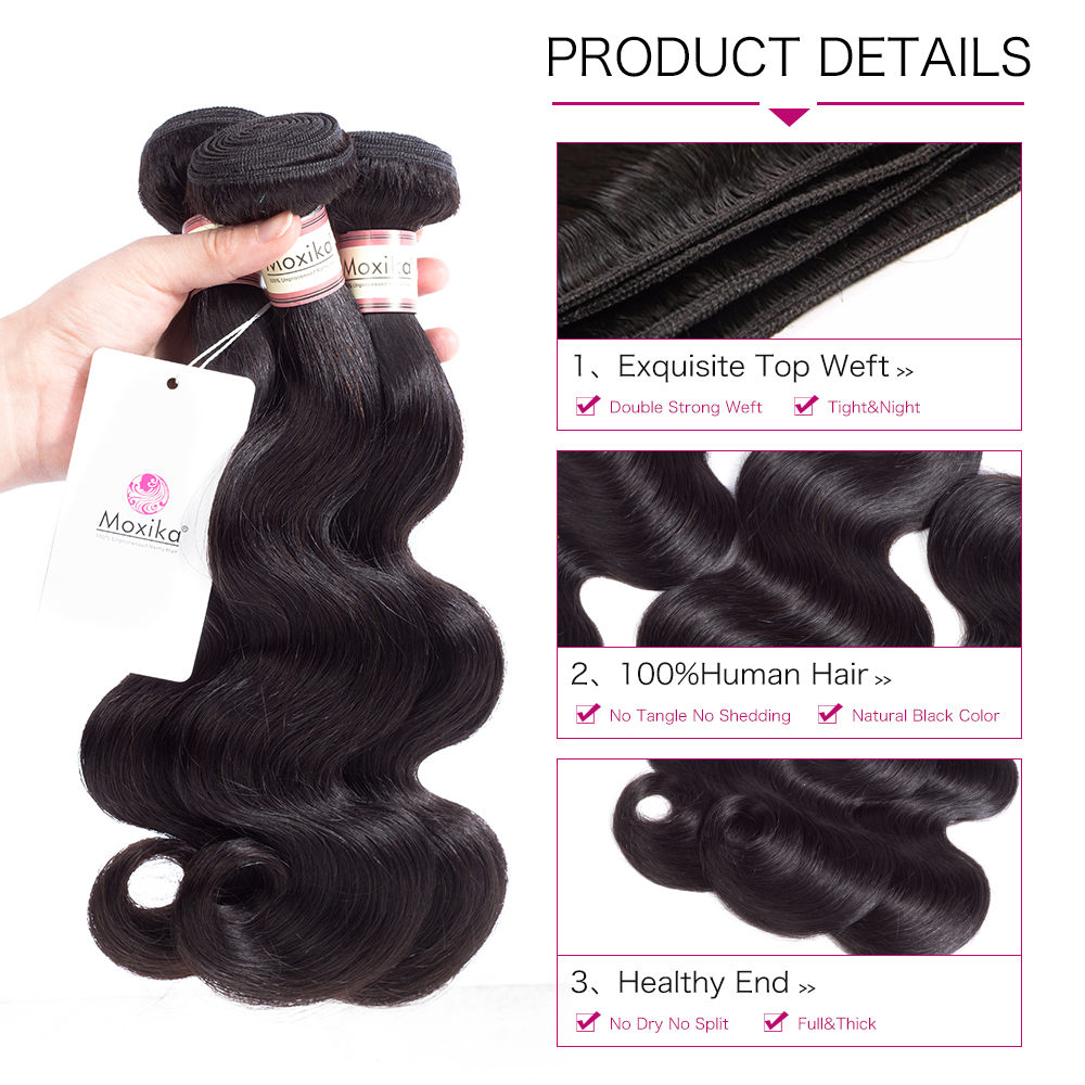 Original Moxika Brazilian Body Wave Human Hair One Bundles 8-28inch Natural Black Can Be Dyed Full End Brazilian Hair Weaves Hair Weaves Hair Extensions & Wigs
