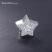 ANFASNI European Charm Authentic 925 Sterling Silver Wishing Star Beads Charm Fit Original Bracelet Pendant Accessories PSMB0233
