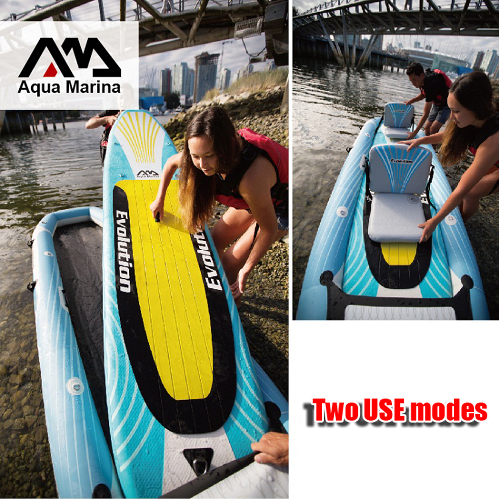 Aqua Marina Evolution 10'14EV 340 Inflatable Stand up paddle board 2 in 1 two person kayak and stand up paddle board