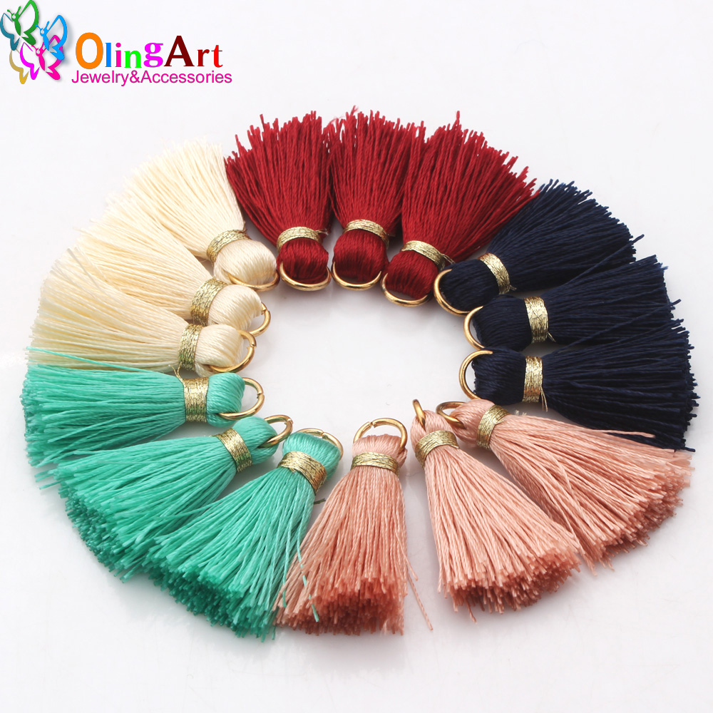 6Pcs/lot 3cm Mini Colorful Silky Tassels Charms Pendant Drop Earring Tassels for Jewelry DIY Boho Bracelet Necklace Graft Making(China)