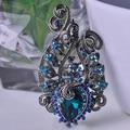Azul Encantador Flores Broches de Alta Qualidade Cristais Vermelhos Do Vintage Antigo Banhado A Prata Mulheres Vestido Acessórios Grampos de cabelo Pinos