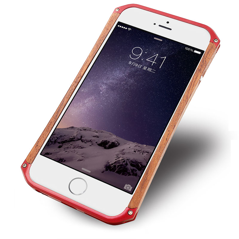 Original RONIN Wooden Case Natural Wood Aluminum Metal Bumper Case For iPhone 6 6S 4 7