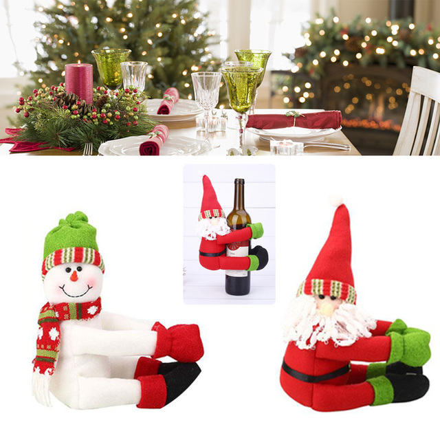 cute large wine bottle cover new year christmas decoration christmas ornament home table decoration