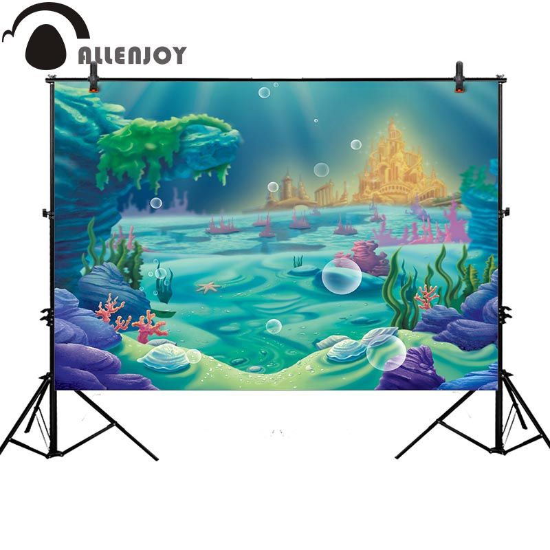 Allenjoy photography backdrop cartoon seabed palace children background printed photocall photocall customize printed allenjoy christmas photography backdrop wooden fireplace xmas sock gift children s photocall photographic customize festive