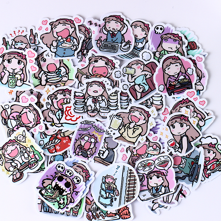 40pcs Creative Kawaii Self-made Greedy Food People Stickers Scrapbooking Decorative Stickers/DIY Craft Photo Albums
