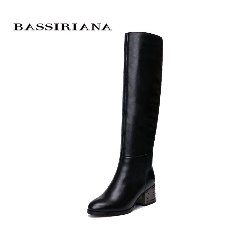 BASSIRIANA New Winter Genuine leather high boots high heels shoes woman black blue suede black leather zipper 35-40 size bassiriana knee high boots suede women winter shoes for woman comfortable high heels shoe 35 40 free shipping