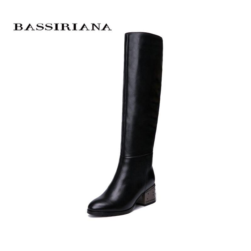 BASSIRIANA nuevo invierno cuero genuino botas tacones zapatos mujer Negro Azul suede cuero negro cremallera 35-40 tamaño