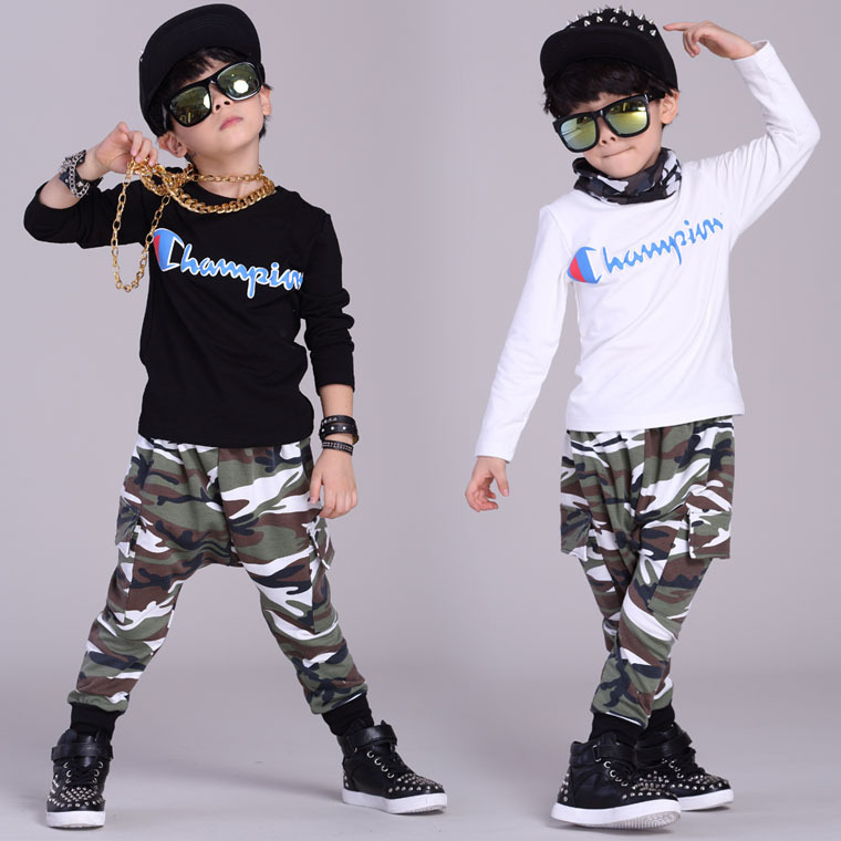 2016 Kids clothing set spring Autumn Boys kids  suits Camouflage Black Hip Hop harem pants & t shirt twinset