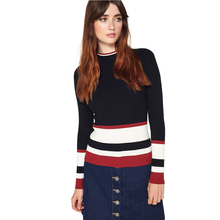 Autumn Stripe Contrast Women Sweater Casual Slim Chic Female Pullover Color Block Warm Soft Basic Sweater For Wholesale