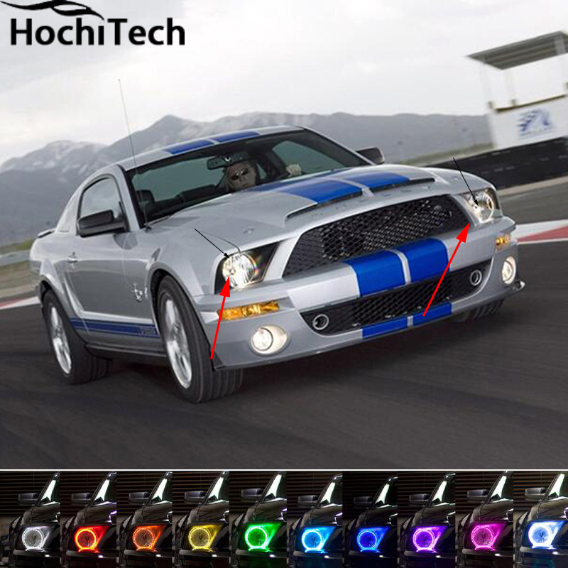 For 2005-2009 Ford Mustang LED perimeter headlight rings halo Multi-color RGB angel demon eyes ford mustang v6 2011