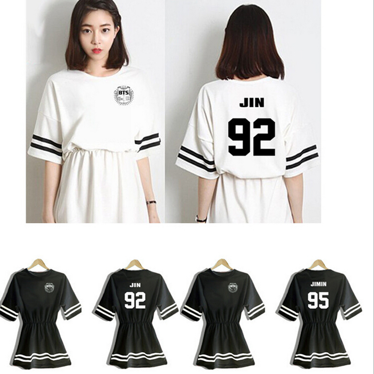 BTS 2017 new kpop summer  women mini dresses natural lady girl underdresses bts clothing sets women bts blood