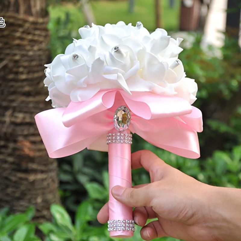 1 PC Cheap Bridesmaid Wedding Decoration Foam Flowers Rose Crystal Bridal Bouquet White Satin Ribbon Romantic
