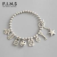 F.I.N.S 925 Sterling Silver Bracelet Handmade Silver Bead Chain Bracelets Smile Face Lock Key Pendant Tag Best Friend Bracelet