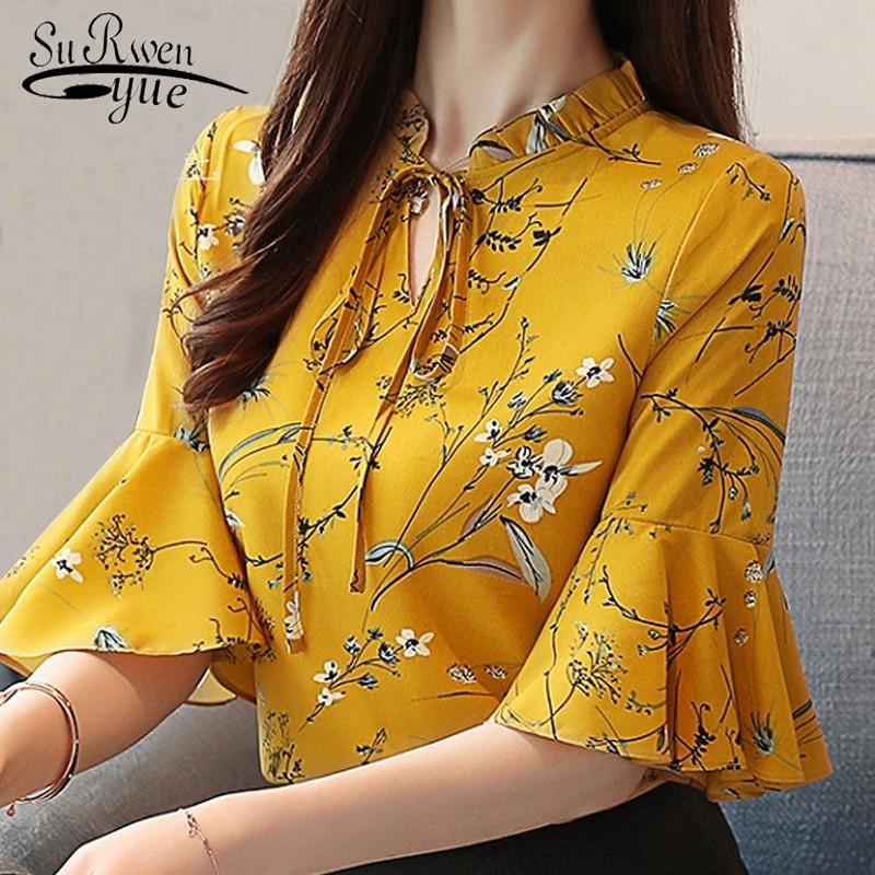 blusas femininas fashion print chiffon   blouse     shirt   flare sleeve plus size Summer women tops womens tops and   blouses   1874 50