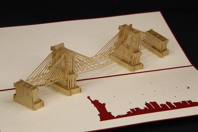 3D Pop Up Brooklyn Bridge Postcards Creative Handmade Greeting Cards Hot Sale Paper Cutting