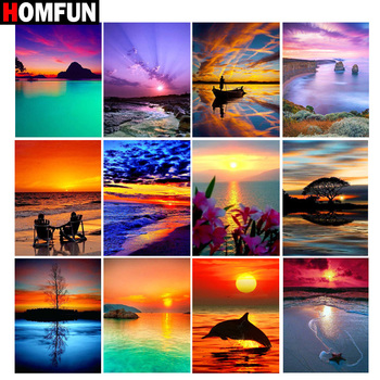 HOMFUN Full Square/Round Drill 5D DIY Diamond Painting Sunset scenery 3D Embroidery Cross Stitch 5D Home Decor Gift dispaint full square round drill 5d diy diamond painting mandala scenery 3d embroidery cross stitch 5d home decor a10820