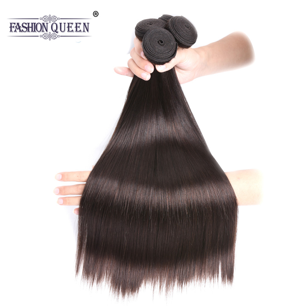 Fashion Queen Hair Brazilian Hair Bundles Dark Brown Straight Hair Bundles 8-28 Human Hair Extensions #2 NonRemy Hair Weaves