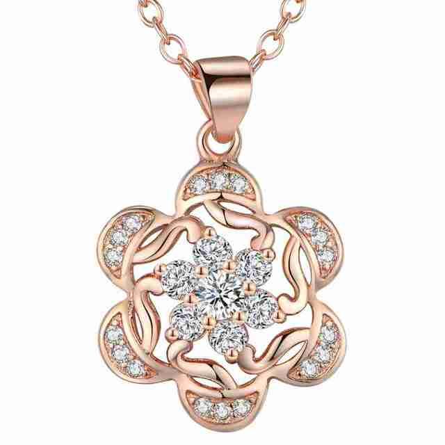 e514f3fc833b € 2.84 7% de DESCUENTO Collares y colgantes de Color plata y oro para mujer  COLLAR COLGANTE de flores con cristal AN1897 en Collares colgantes de ...