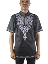 Africa Folk Embroidery Men`s Dashiki Tops Mandarin Collar Ethnic Shirts for Summer Wearing