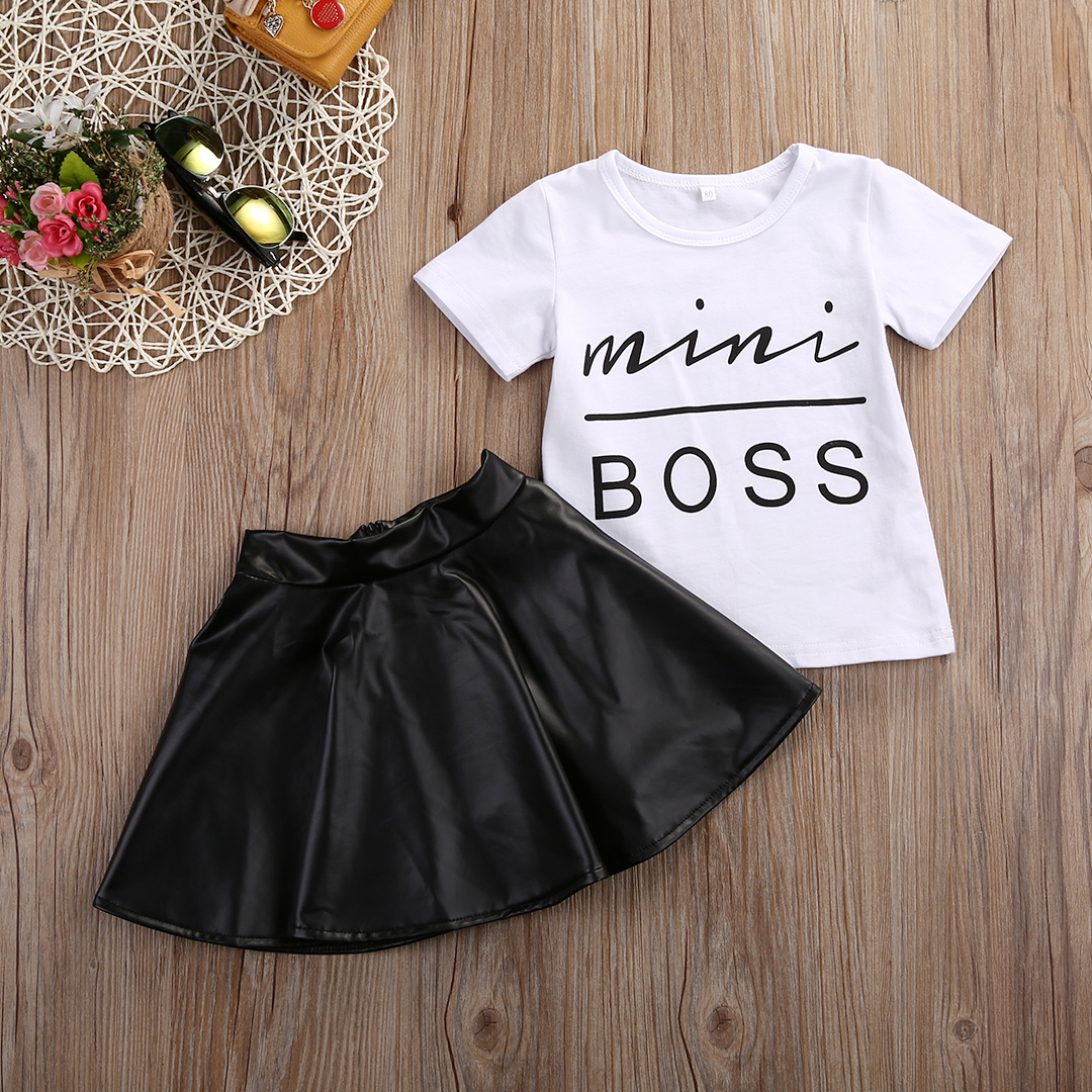17 New Fashion Toddler Kids Girl Clothes Set Summer Short Sleeve Mini Boss T-shirt Tops + Leather Skirt 2PCS Outfit Child Suit 3