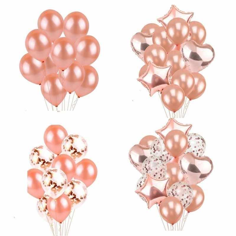 14 Piece Rose Gold Balloon Wedding Decoration Globos Birthday Party Dec Adult 18 Inch Rose Gold Heart Shape Gift Supplies
