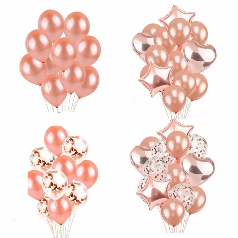 14 Piece Rose Gold Balloon Wedding Decoration Globos Birthday Party Dec Adult <font><b>18</b></font> Inch Rose Gold Heart Shape Gift Supplies image