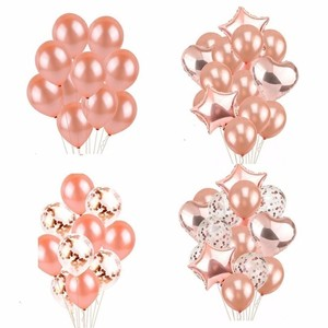 Image 1 - 14 Piece Rose Gold latex Balloons Wedding Decoration Birthday Party decorations Adult 18 Inch Heart Shape Gift helium balloon