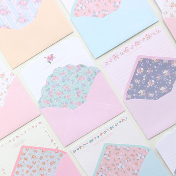 Domikee Cute Kawaii Korea Flower Pattern Office School Gift Greeting Envelope And Letter Paper Set Stationery 4 Pads+2 Envelopes