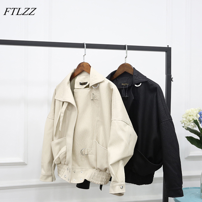 FTLZZ 2019 New Fashion Street Faux   Leather   Jacket Women Casual Loose Batwing Sleeve Washed Pu   Leather   Coat Biker Jackets