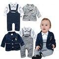Primavera outono-nascidos macacão de algodão de manga Longa Romper + casaco azul bebê roupas meninos Conjuntos de roupas infantis da criança ternos DY115B