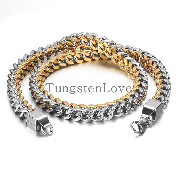 60cm*10mm New Durable Wide Stainless Steel Mens Necklace Wheat Link Chain 24 Inches, Silver Gold Colour (with Gift Bag)