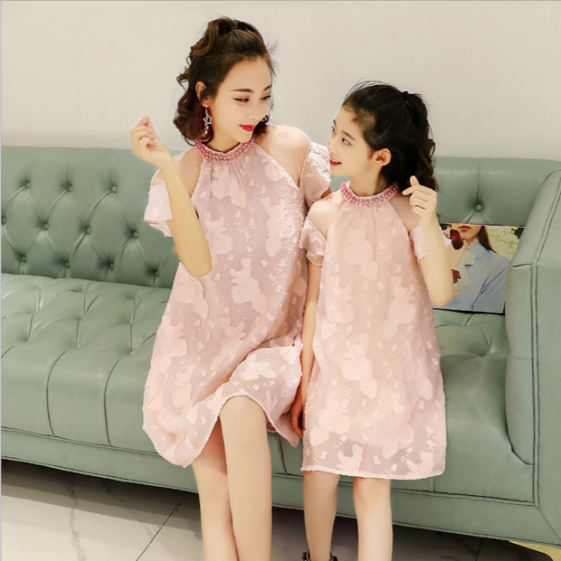 Mother Daughter Dresses Family Matching Outfits Lace Family Look Matching Clothes Mom And Daughter Dress Drop Shipping