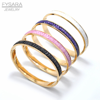 FYSARA Boho Colorful Austrian Crystals Square Bangle Bracelet For Women Indian Jewelry Rose Natural Stone Round