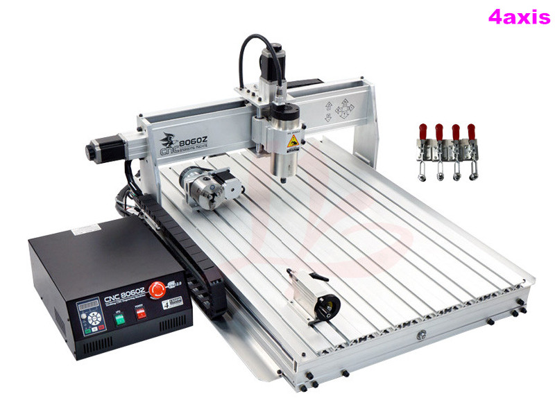 2.2KW spindle 4 AXIS wood router 8060 metal engraving machine with limit switch2.2KW spindle 4 AXIS wood router 8060 metal engraving machine with limit switch
