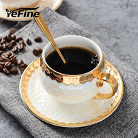 YeFine Turkish Coffee Cups Ceramic With Stainless Spoon Gold Inlay Porcelain Coffee Cups Saucers Sets Afternoon Tea Teacup