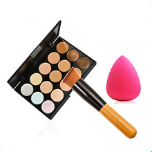 Concealer 15 Colors Contour Palette+Powder Brush+Sponge Puff Set Professional Face Concealer Primer Makeup Cream Base MakeUp kit цена