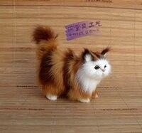 Pequeña simulación amarillo y rojo gato juguete polietileno y pieles de pie gato muñeca regalo 12x6x12 cm 0928