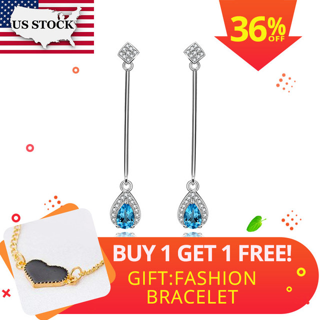 Uloveido Natural Blue Topaz Earrings for Women, 925 Sterling Silver, 5*7mm*2 Pcs Birthstone Gemstone Wedding Party Jewelry FR102
