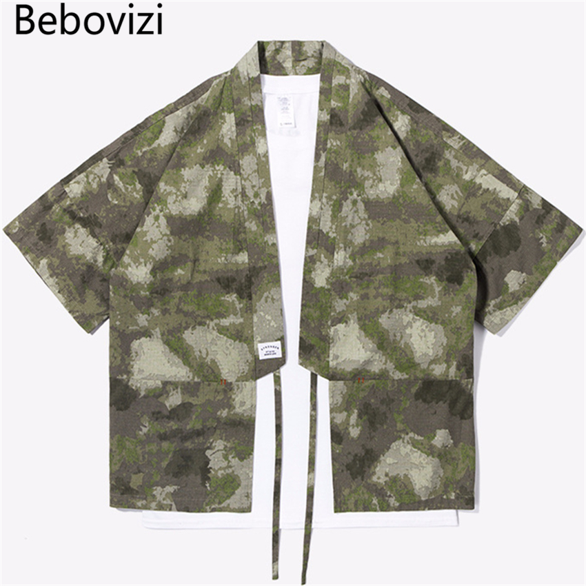 Bebovizi Brand New Designer Japanese Streetwear Style Mandarin Robes for Men Jackets Camouflage Mens Clothes Camou Kimono Shirt