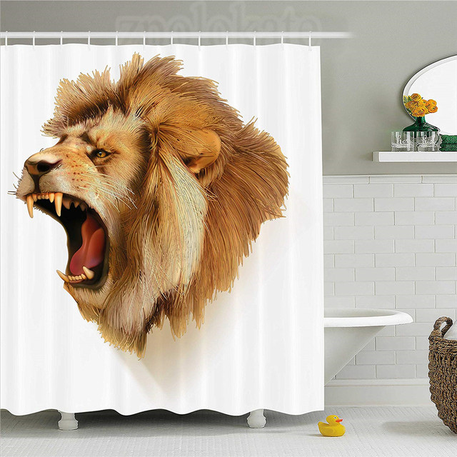 King Shower Curtain Roaring Wild Lion Head Safari African