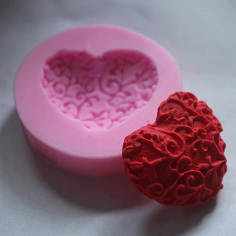 לב אהבה חדש תחרה סבון תבניות עוגת פונדנט שוקולד לאפיית מטבח FM087