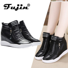 Fujin 2019 summer autumn platform wedge heel boots Women Shoes with increased platform sole female fashion casual zip botas(China)