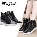 Fujin 2019 summer autumn platform wedge heel boots Women Shoes with increased platform sole female fashion casual zip botas