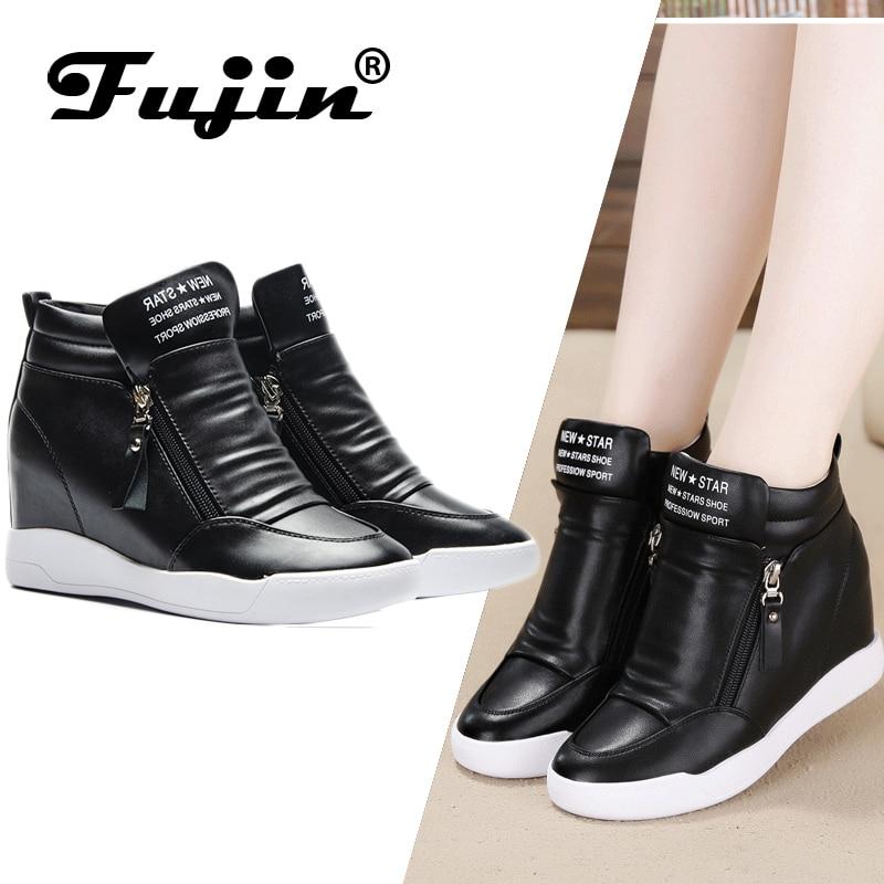 Fujin 2019 verano otoño plataforma botas de tacón de cuña Zapatos de mujer con plataforma aumentada suela de moda casual botas zip