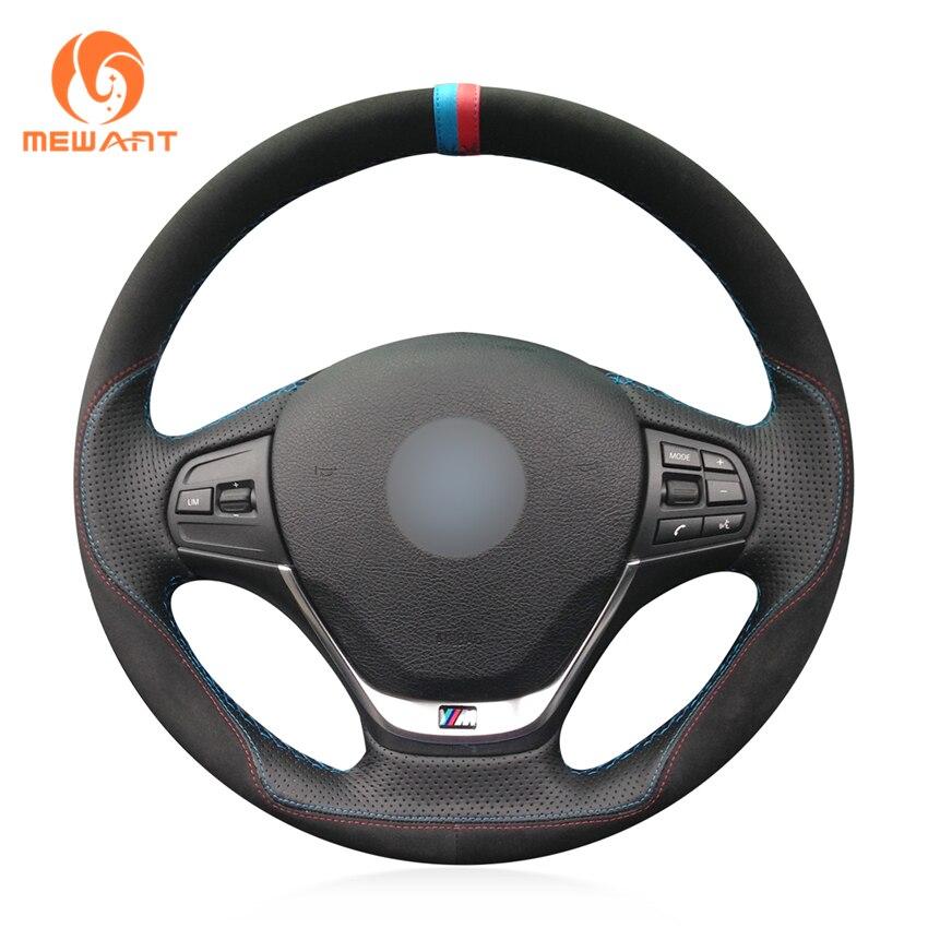 MEWANT Black Leather Black Suede Car Steering Wheel Cover for BMW F30 316i 320i 328i mewant black artificial leather car steering wheel cover for bmw f30 316i 320i 328i