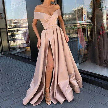 New arrival evening Dresse Formal vestido noiva sereia prom party robe de soiree red gown luxury frock sexy side slit pockets 5
