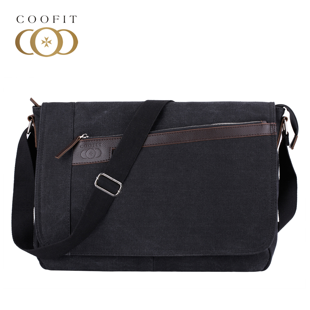 Coofit Vintage Men Canvas Messenger Bag Casual Solid Zipper Laptop Bags For Male Boys Teenager Schoolbags Travel Crossbody Bags casual canvas women men satchel shoulder bags high quality crossbody messenger bags men military travel bag business leisure bag